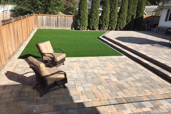 Artificial Grass · Patio Stones · Steps   Paving Stone Patio With Steps And  Artificial Grass